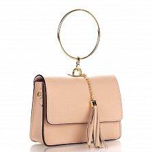 Кожаный клатч Genuine Leather 1669 приглушенно-розового цвета с круглой металлической ручкой