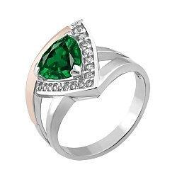 Серебряное кольцо с золотой накладкой, зеленым альпинитом и фианитами 000106060