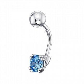 Серебряный пирсинг для пупка с голубым кристаллом Swarovski 000138834