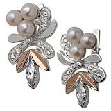 Серебряные серьги с жемчугом и золотыми вставками Жар-птица