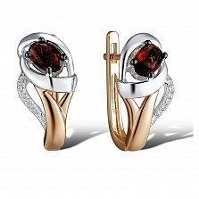 Серьги из красного золота Иванна с бриллиантами и гранатами