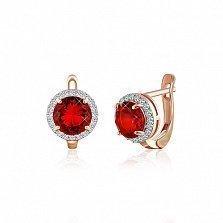 Позолоченные серебряные серьги Рашель с рубиновыми фианитами