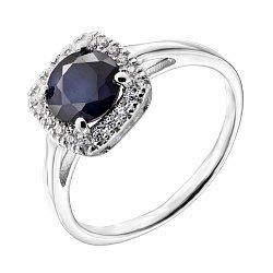 Серебряное кольцо с сапфиром и цирконием 000140137