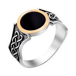 Серебряный перстень-печатка с черным ониксом, золотой накладкой и чернением 000116167