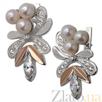 Серебряные серьги Жар-птица с жемчугом, фианитами и золотыми вставками  BGS--24-2с