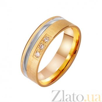 Золотое обручальное кольцо с фианитами Любовный аккорд TRF--4121295