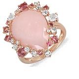 Золотое кольцо с ониксом, бриллиантами, розовыми кварцами и турмалинами Мечтательница