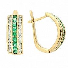 Золотые серьги с бриллиантами и изумрудами Биркан