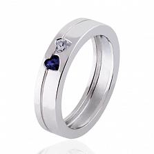 Обручальное кольцо Hearts с бриллиантом и сапфиром