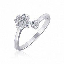 Серебряное фаланговое кольцо Клевер