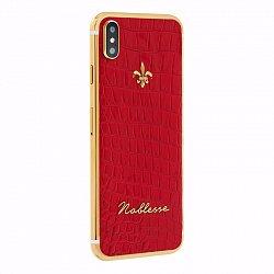 Apple IPhone X Noblesse Red croco в красной коже, золоте и бриллиантами
