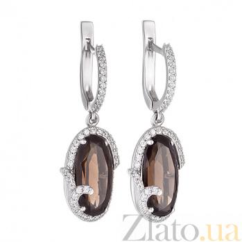 Серебряные серьги-подвески с кварцем Изысканность 2198/9р кварц