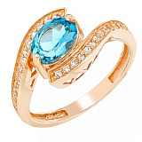 Золотое кольцо Элла с голубым топазом и фианитами