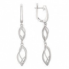 Серебряные серьги-подвески Спираль с фианитами