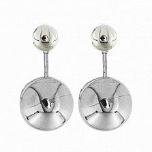 Серебряные двусторонние серьги-шары Диор с родиевым покрытием