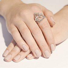 Серебряное кольцо с жемчугом и фианитами Жар Птица