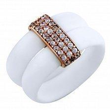Серебряное кольцо Ливия с каучуком и фианитами