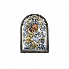 Владимирская икона Божьей Матери покрытая серебром и золотом