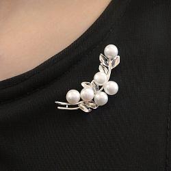 Серебряная брошь Зимняя ветка с родием и белым жемчугом