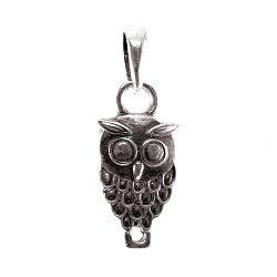 Серебряный кулон Owl с чернением на шнурке с регулирующимся размером 000091299
