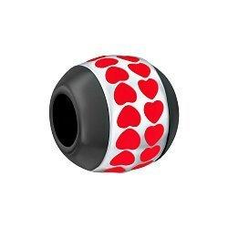 Срібний шарм Шлях серця з чорною керамікою і червоною емаллю 000072839