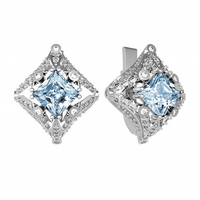 Серебряные серьги Азиза с голубым топазом Sky Blue и фианитами 000079729