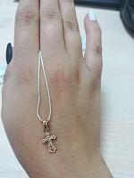 Золотой крестик в комбинированном цвете 000137687