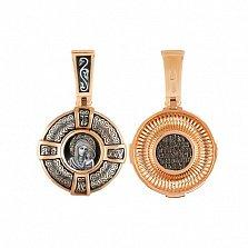 Ладанка из комбинированного золота Казанская Пресвятая Богородица