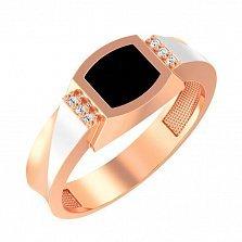 Золотой перстень-печатка Андерсон с фианитами и черной эмалью