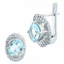 Серебряные серьги Максима с голубым топазом и фианитами