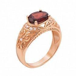 Кольцо в красном золоте Роксолана с гранатом и фианитами