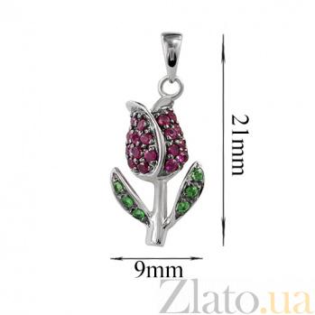 Золотой подвес с рубинами и цаворитами Тюльпан 000026761