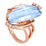 Золотое кольцо с голубым топазом и фианитами Линдсей