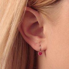 Детские серебряные сережки Сердечки с красной эмалью
