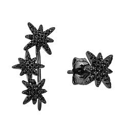 Серебряные ассиметричные серьги Эстрелла (каффа и пуссета) в черном цвете с черными фианитами