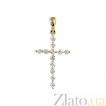 Крестик из желтого золота с бриллиантами Свет с небес 000026767