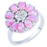 Кольцо из серебра Лакшми с розовым опалом и фианитами