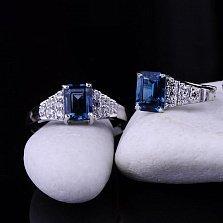 Серебряное кольцо Клэр с топазом лондон и фианитами