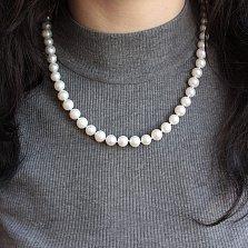 Жемчужное ожерелье Вечная классика с серебряной застежкой и бусинами 9мм