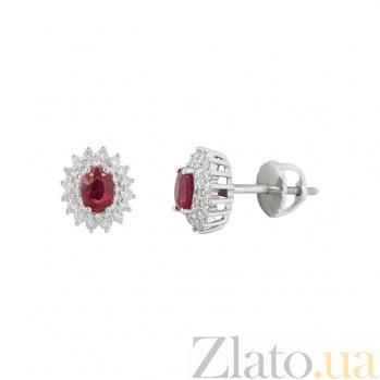 Золотые серьги с рубинами и бриллиантами Малинки 000026657
