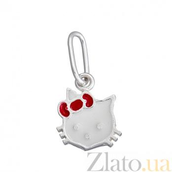 Серебряный кулон Китти с эмалью LEL--62087