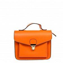 Кожаный клатч 1727 оранжевого цвета с замочком-защелкой, ручкой и ремнем на плечо