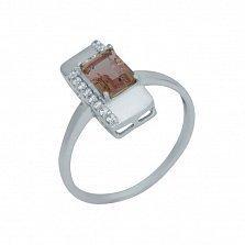 Серебряное кольцо Тавус с корундом и дорожками фианитов