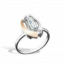 Серебряное кольцо Ника с золотой вставкой и фианитами