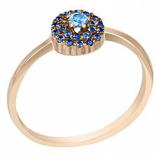 Кольцо в красном золоте Теплый океан с голубым топазом и сапфирами