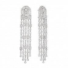 Золотые серьги-подвески Царетель в белом цвете с узорами и бриллиантами