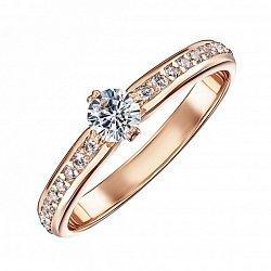 Кольцо из красного золота с фианитами 000103775
