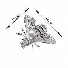 Серебряная брошь с жемчугом, черными и белыми фианитами 000133261