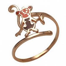 Золотое кольцо Обезьянка с эмалью