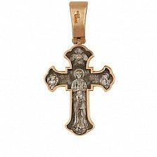 Крест из красного золота с черным и белым родием Милость Богородицы